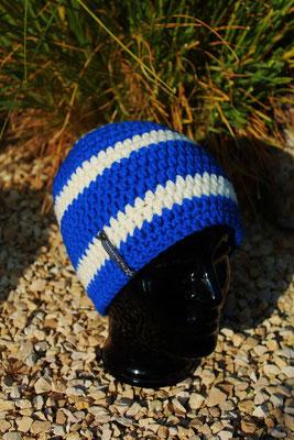 Mütze-Beanie-Fanmütze blau/weiss-Fussballmütze in Vereinsfarben