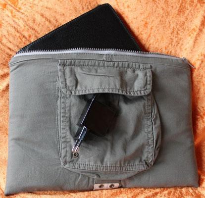Tablettasche-Case-Bag-Hülle, Baumwolle-khaki-10 Zoll, Unikat, Geschenkidee