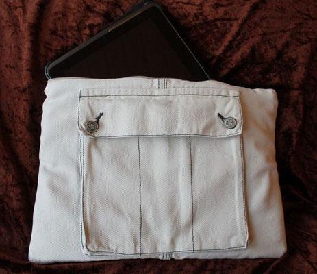 Tablettasche-Case-Bag-Hülle, Jeans-helles beige-10 Zoll, Unikat, Geschenkidee