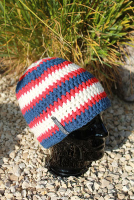 Mütze-Beanie-Fanmütze rot/weiss/blau-Fussballmütze in Vereinsfarben