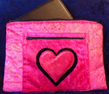 Tablettasche-Case-Bag-Hülle, pannesamt-pink-10 Zoll, kuschliger Stoff, Geschenkidee