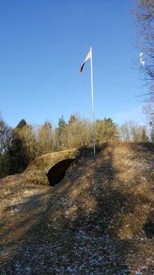 Noch ein letzter Blick auf die Ruine bevor es wieder den Berg runter geht.