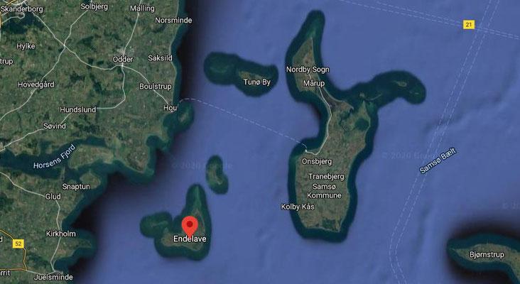 Endelave - Insel im Kattegatt, Quelle: Google maps