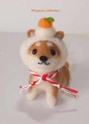 鏡餅の被り物柴犬さん