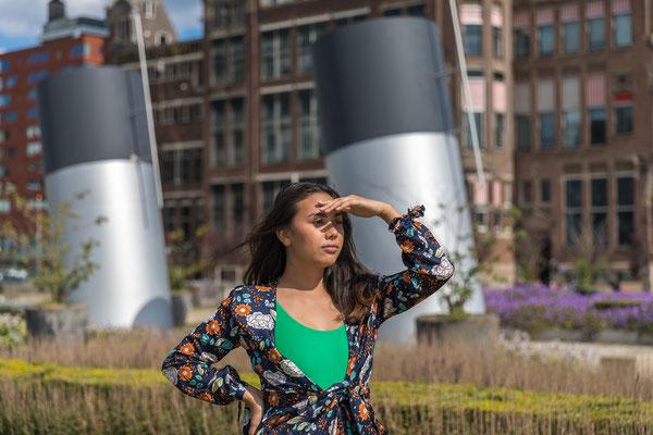 Model photoshoot Kop van Zuid Rotterdam