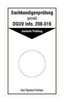 "Format: B 50, H 85 mm / Art.-Nr. 20-02-033 / ""Prüfung Leitern u. Tritte"""