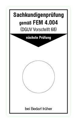 """Format: B 50, H 85 mm / Art.-Nr. 20-02-157 / """"Prüfung Flurförderzeuge"""""""