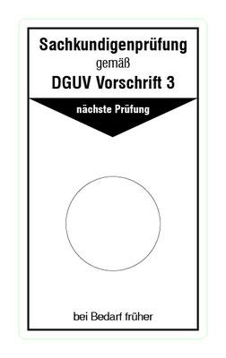 """Format: B 50, H 85 mm / Art.-Nr. 20-02-091 / """"Prüfung elektrische Anlagen u. Betriebsmittel"""""""