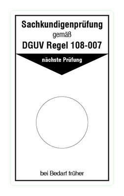 "Format: B 50, H 85 mm / Art.-Nr. 20-02-037 / ""Prüfung Lagereinrichtungen u. -geräte"""