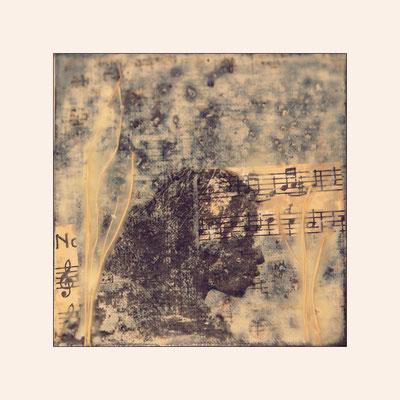 die melodien mancher nächte, Baumwollgewebe auf Mal-Pappe, 15 x 15 cm; in Privatbesitz