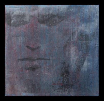 ... wohin du auch gehst ..., Baumwollgewebe auf Mal-Pappe, 30 x 30 cm