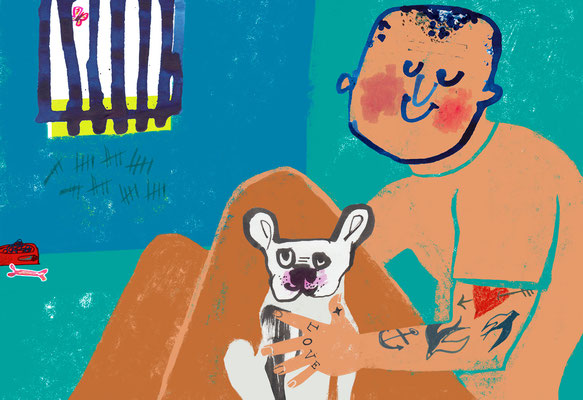 Jill Calder Illustration - General Illustration - Pet Therapy for Prisoners