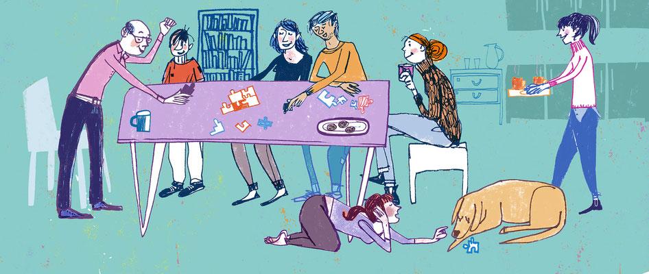 """Jill Calder Illustration - Children's Illustration - """"Family Time"""" - CAHRU"""