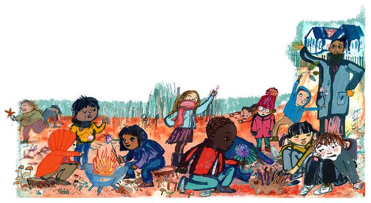 Jill Calder Illustration - Children's Illustration - Outdoor Learning for BBC Wildlife Magazine