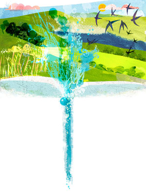 Jill Calder Illustration - General Illustration - South Downs Water for Goodwood Magazine