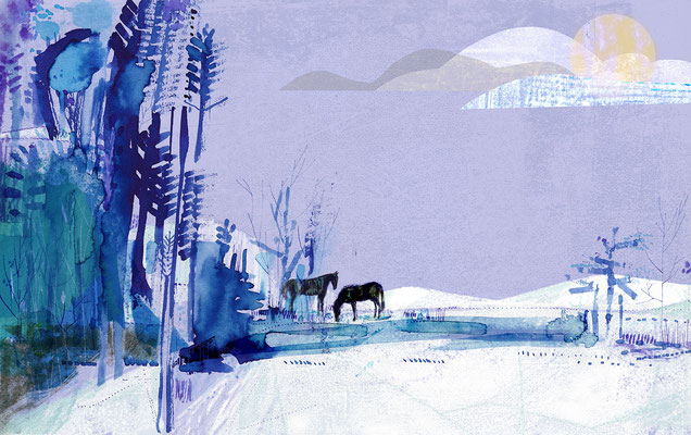 "Jill Calder Illustration - Children's Illustration - ""Winter Pond"""