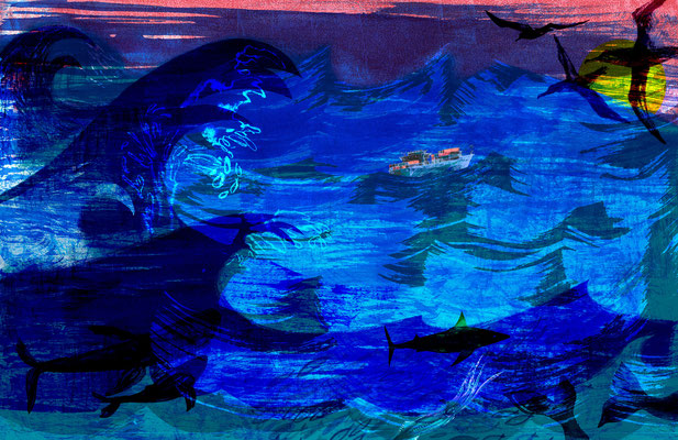 "Jill Calder Illustration - Children's Illustration - ""The Open Ocean"" from 'The Sea' picturebook"