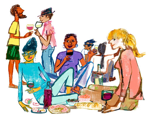 Jill Calder Illustration - General Illustration - Wine Tasting