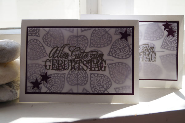 Geburtstagskarte brombeermousse mit Blättern - Patricia Stich 2015