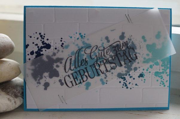 Geburtstagskarte in Blautönen - Patricia Stich 2015