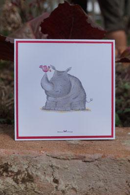 Das Nashorn mit dem Vogel - Wild auf Grüße
