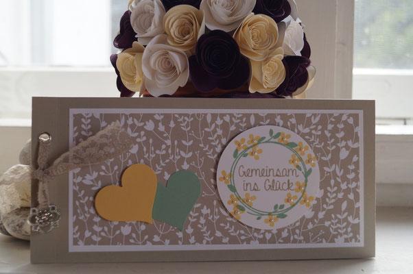 Hochzeitskarte in safrangelb und minzmakrone - Patricia Stich 2015