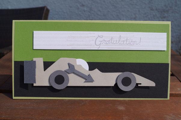 Geburtstagskarte mit Formel 1-Auto - Stampin´Up! - Patricia Stich 2015