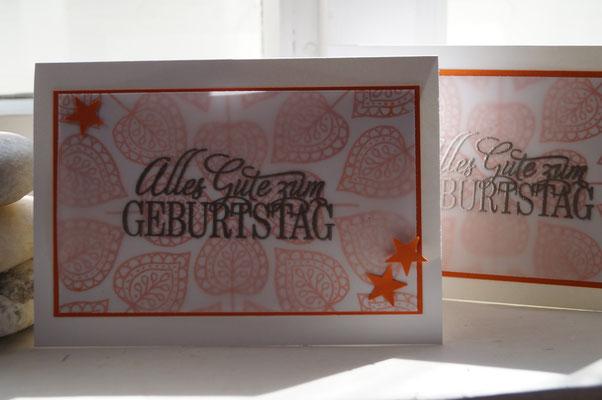 Geburtstagskarte orangentraum mit Blättern - Patricia Stich 2015
