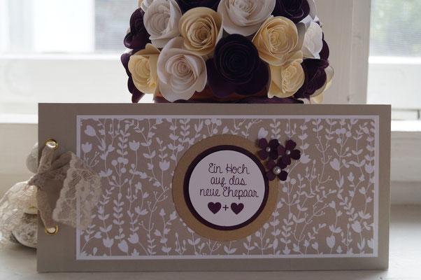 Hochzeitskarte in brombeermousse mit gold - Patricia Stich 2015