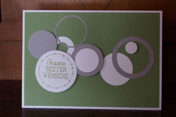 Glückwunschkarte mit Kreisen, wasabigrün - Patricia Stich 2015