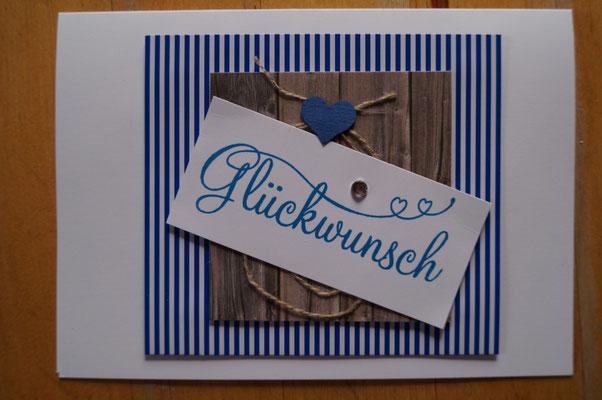 Eine blaue Glückwunschkarte von Gisela