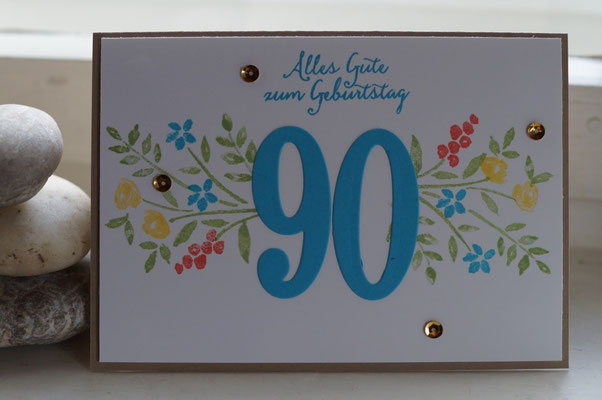 Der 90. Geburtstag, eine Karte  - Patricia Stich 2016