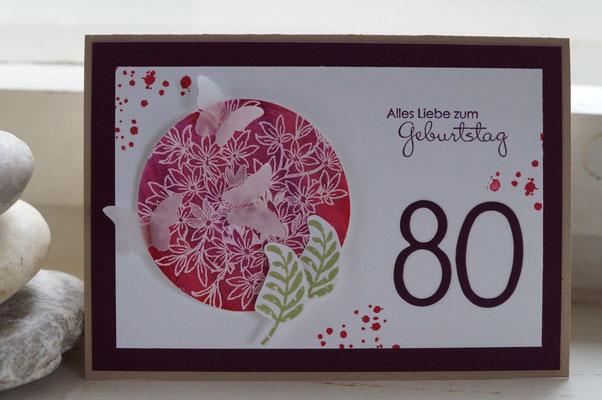 Geburtstagskarte zum 80. für eine Frau - Patricia Stich 2015