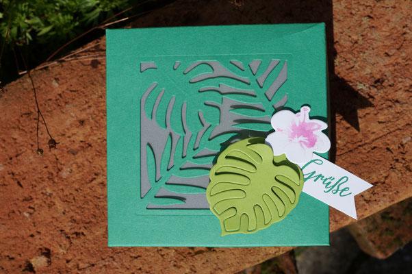 Zarte Blume und die wundervollen Blätter  -  ich liebe die Stanzen!!!