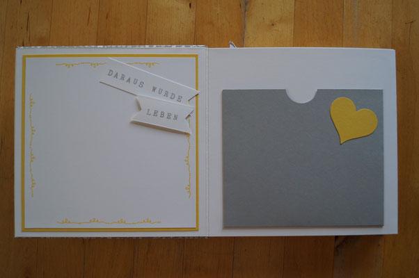 Rechts gibt es ein Kuvert für Fotos, Ultraschallbilder,...
