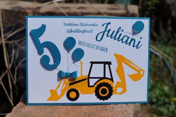 Bagger-Karte zum 5. Geburtstag