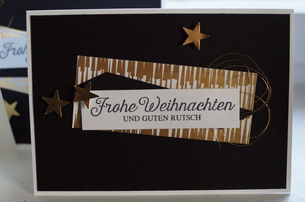 Weihnachtskarte in schwarz-weiß-gold - Patricia Stich 2015