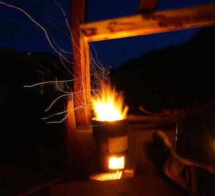 die Feuertonne, abendlicher Wärmespender