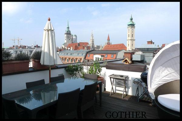 Exklusive Dachterrassenwohnung mit Blick in Münchner Altstadtlage