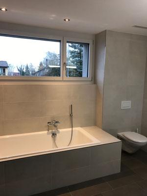 Neubau Badezimmer Keramische Wand Bodenbeläge Amriswil