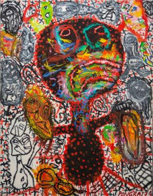 PETER PONGRATZ, My Mommie Sent Me To The Store, 1993, Acryl auf Leinwand, 180x140cm