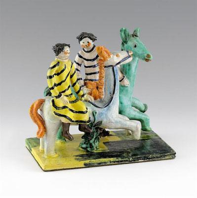 KITTY RIX, Zwei Pferde mit Reitern Ausführung, Wiener Werkstätte, Modellnummer 447, Roter Scherben, mehrfarbig glasiert, 18,4/20,8/14cm