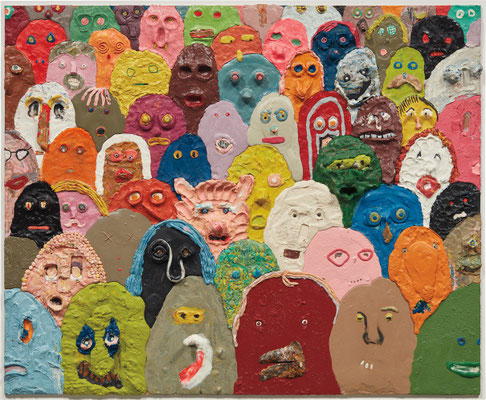 Gelitin (ex Gelatin) Faces, 2009 Plastilin auf Platte 102,9 x 126 x 14,9 cm
