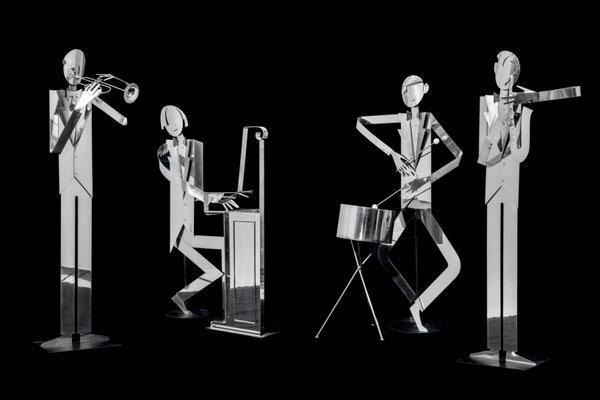 FRANZ HAGENAUER, Vier lebensgroße Jazz Musiker, 1978 – 87, max. h 187 cm
