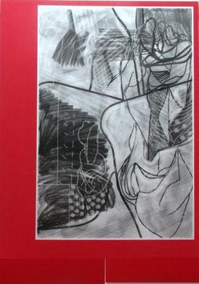 CHRISTIAN SCHWARZWALD, Plunder 4, Kohle, Papier, Acryl / Leinwand, 240x170cm, 2020