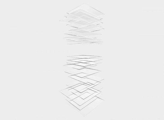 FRANZ RIEDL, Horizontale Schichtung (gespiegelt I), 2017, Papierrelief, Karton geschnitten, 71x97cm