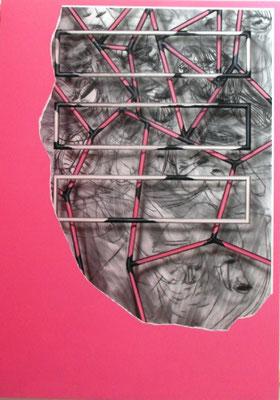 CHRISTIAN SCHWARZWALD, Plunder 3, Kohle, Papier, Acryl / Leinwand, 240x170cm, 2020