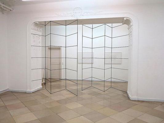 FRANZ RIEDL, Paravent Ausstellungsansicht ArtMark Galerie 300x500x0,8cm