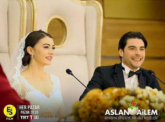 The serial Aslan Ailem , Burcu Özberk wedding