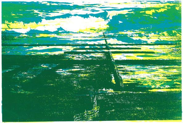 Wattenmeer am Deich Grasgrün auf Meeresrauschen Gelb-Türkis, 29 x 21 cm